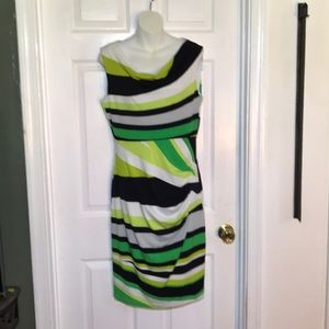 TRIBAL cowl neck fitted green and black dress